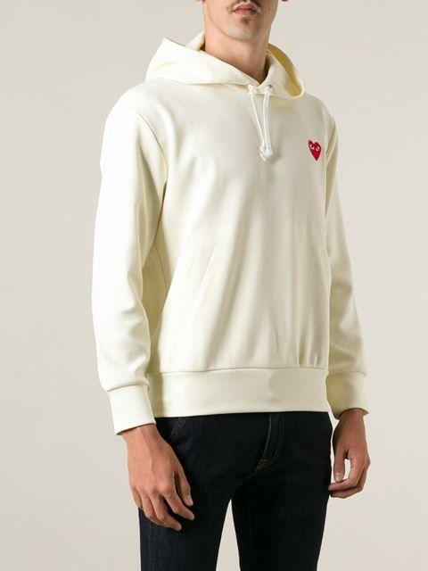 Comme Des Garcons Embroidered Logo Hoodie Cream Hoodie Design Hoodies Men Hoodies