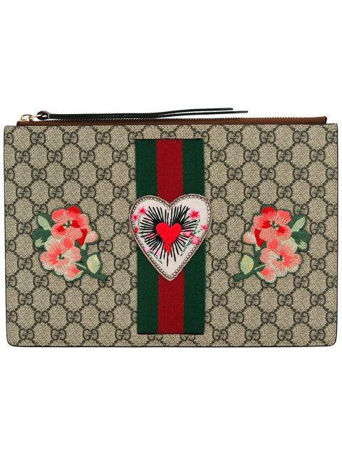 a3daccfc4eb9 Gucci клатч с вышивкой 'GG Supreme '   фалафель   Fashion, Gucci и Bags