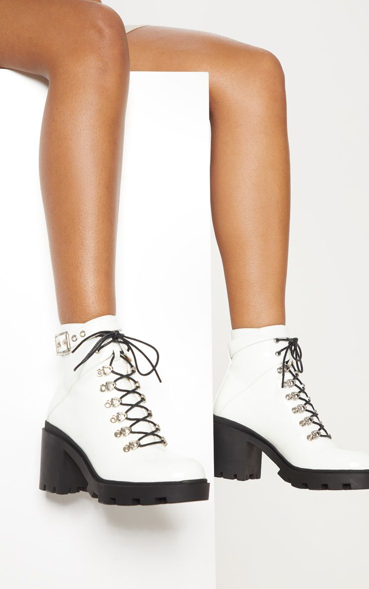White Lace Up Heeled Hiker Boot | Shoes