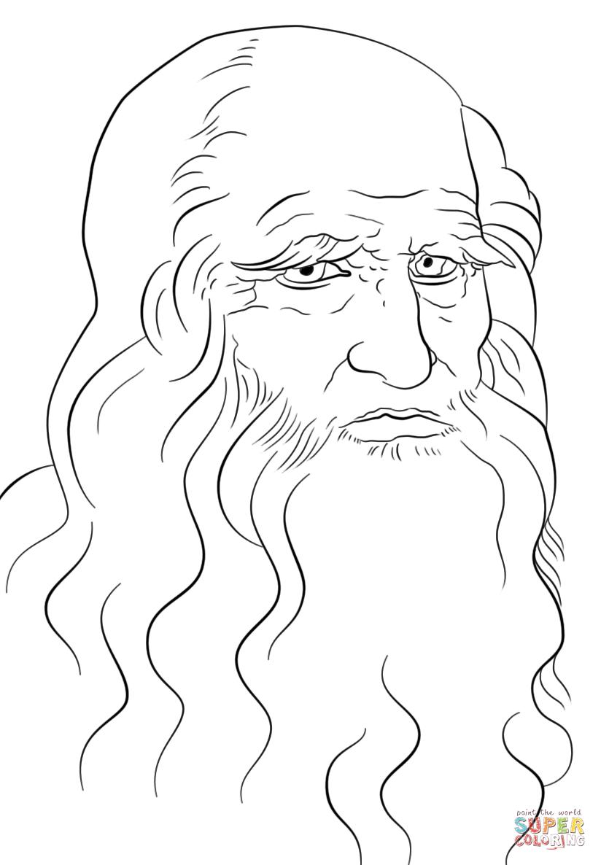 Leonardo Da Vinci Self Portrait Coloring Page From Leonardo Da Vinci Category Select From 28336 Printable Crafts Of Car Line Art Drawings Leonardo Art Lessons [ 1186 x 824 Pixel ]