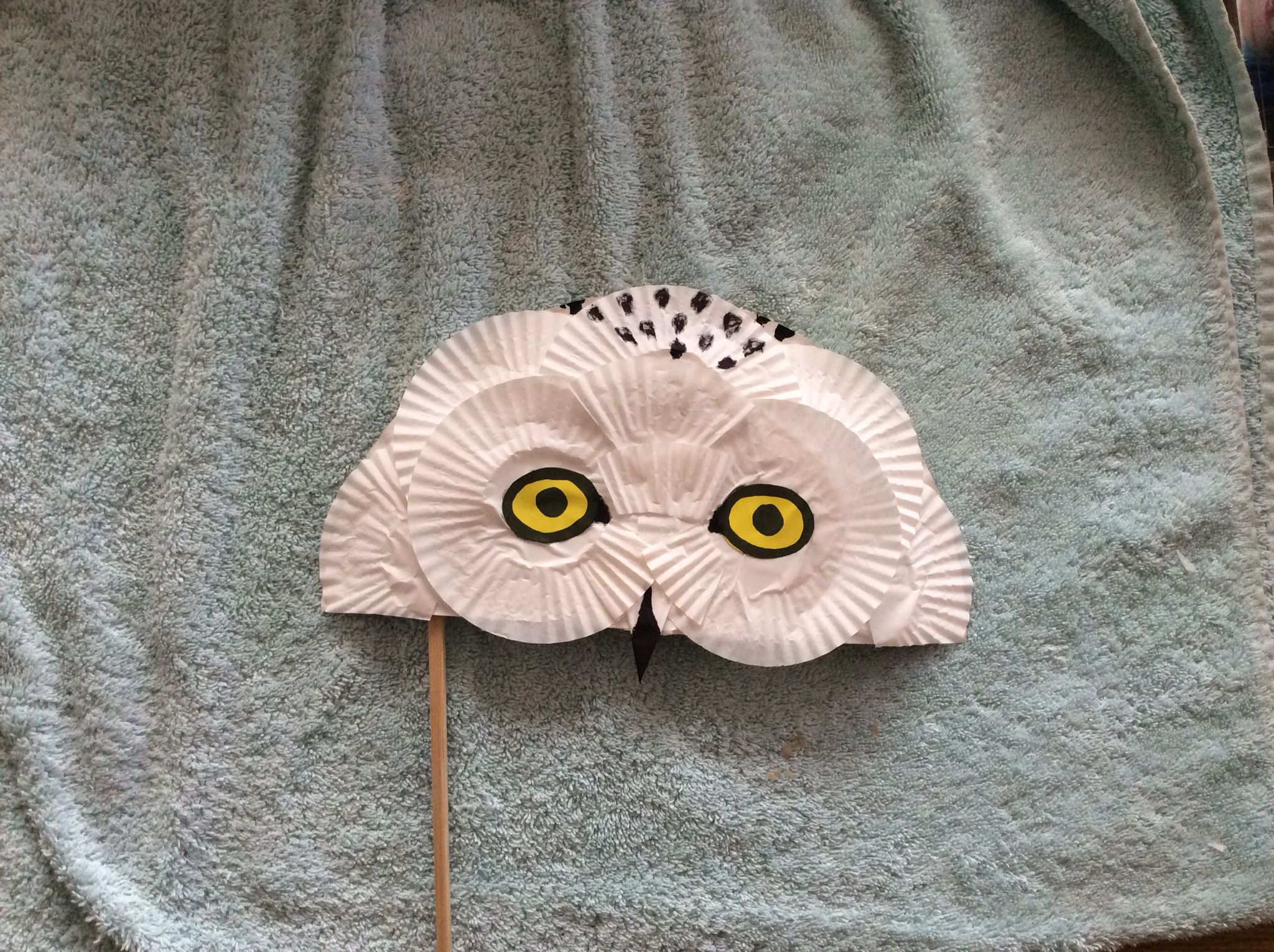 Snowy owl mask. Made from half a paper plate and several cup cake or patty cake cases and simply glued into suitable configuration. & Snowy owl mask. Made from half a paper plate and several cup cake or ...