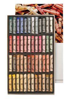 Professional Artists Pastels Sennelier 36 Assorted Soft Pastel Wooden Box Set