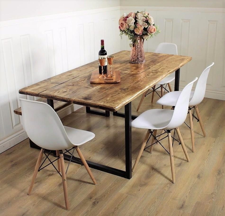 Industrial Dining Table Rustic solid Kitchen farmhouse Steel ...