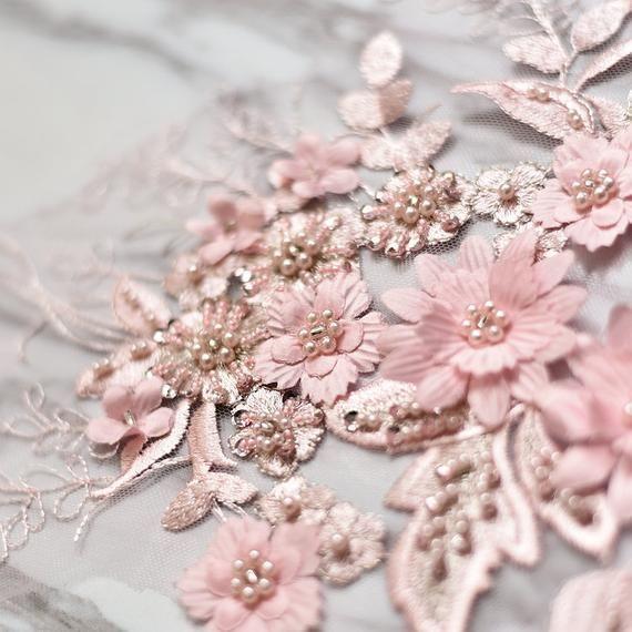 3D Pearls Lace Applique Trim Floral Wedding Motif Bridal Lace Applique 4 Pieces
