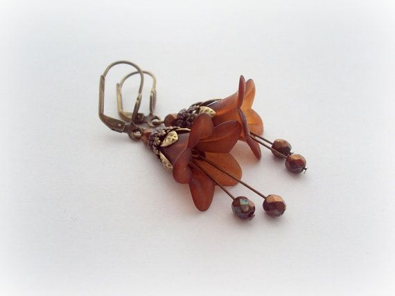 Hot Chocolate Vintage Earrings. Frosted Lucite by earringsAND, $18.00