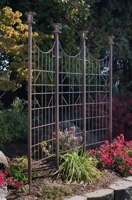 Garden Trellis Iron Metal 3 Panel Screen Lawn Ornament Yard Art
