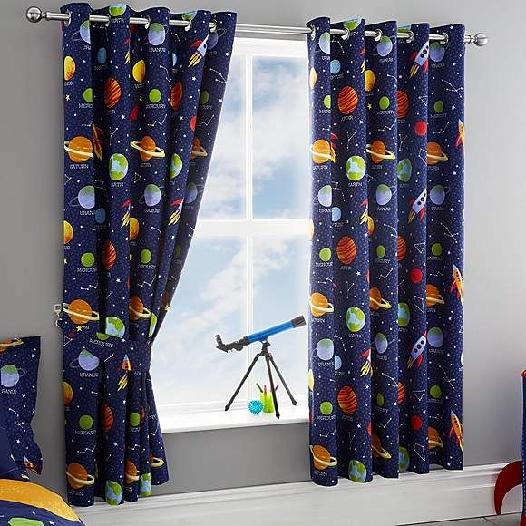 Space Navy Blackout Eyelet Kids Curtains In 2020 Space Themed