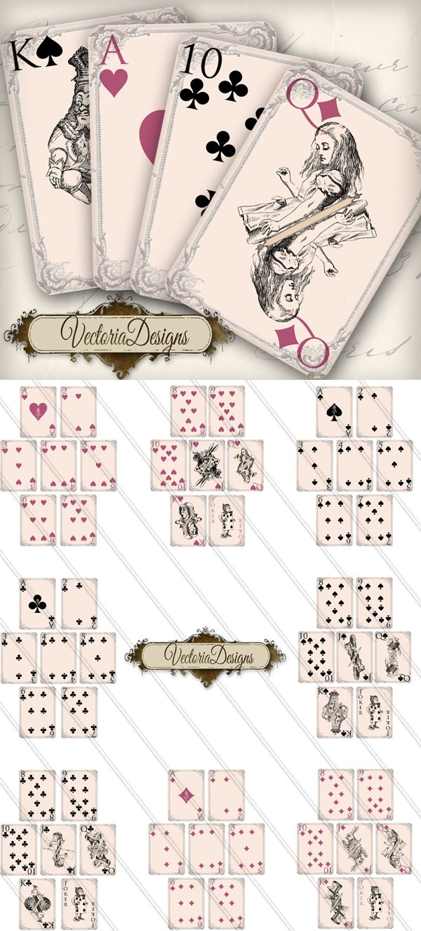 printable alice in wonderland playing cards by vectoriadesigns