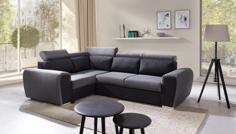 Sof rinconera cama con dise o moderno bali tapizado en tela de color gris reposacabezas - Sofa rinconera moderno ...