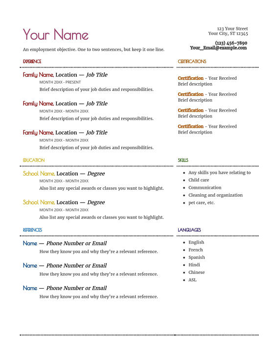 Nanny Resume \ Cover letter Notes template - nanny responsibilities on resume