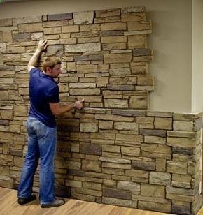 faux stone sheets basement ideas murs pierre salon. Black Bedroom Furniture Sets. Home Design Ideas