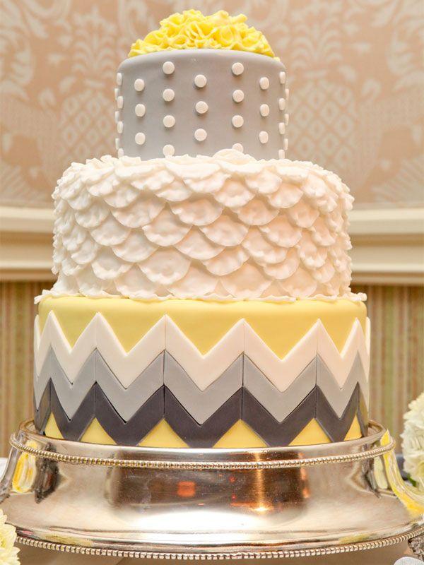 Chevron Wedding Cake - Gray and Yellow Wedding   Wedding Planning ...