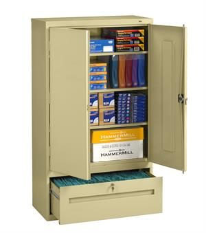 Combination File And Store Locking Storage Cabinets With Adjustable Shelves  Combines Suspension File Storage For Letter And Legal Hanging Files With  Utility ...