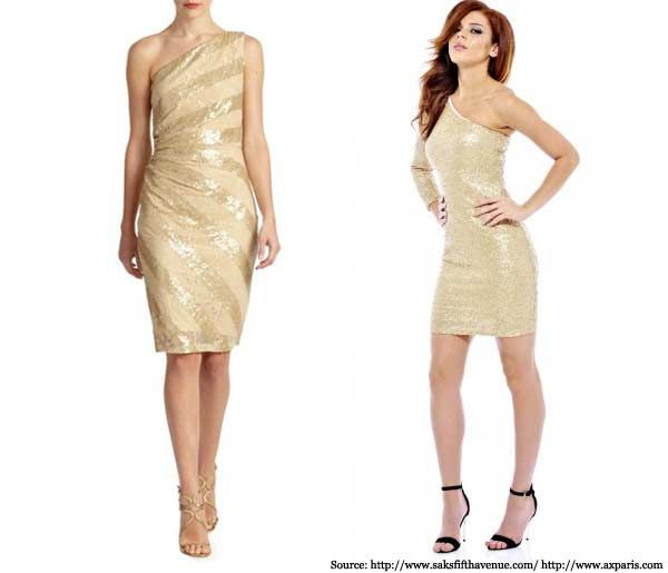 Accessorizing a gold and black dress