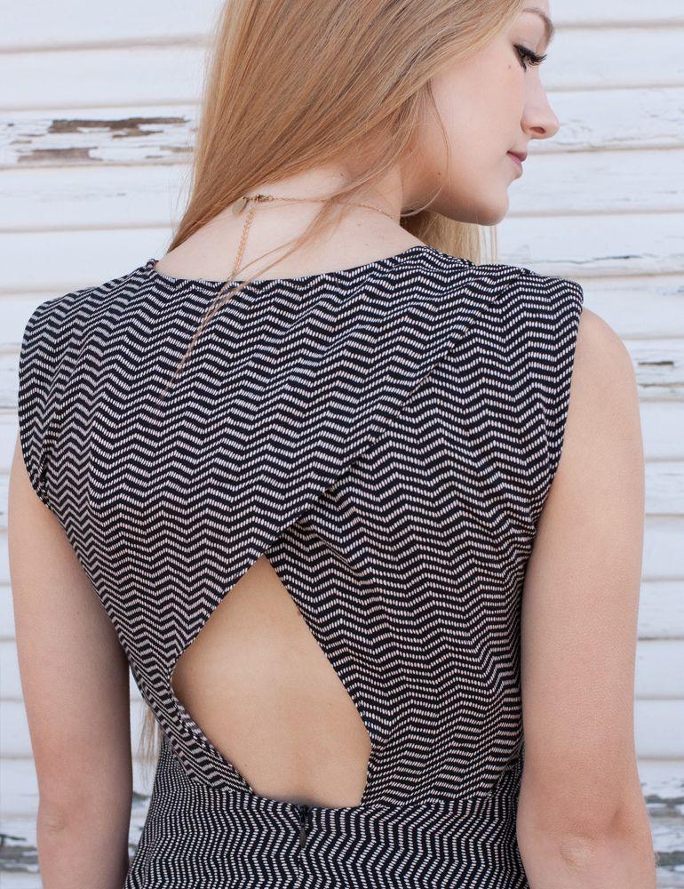 Sleeveless black & cream graphic print dress with open back