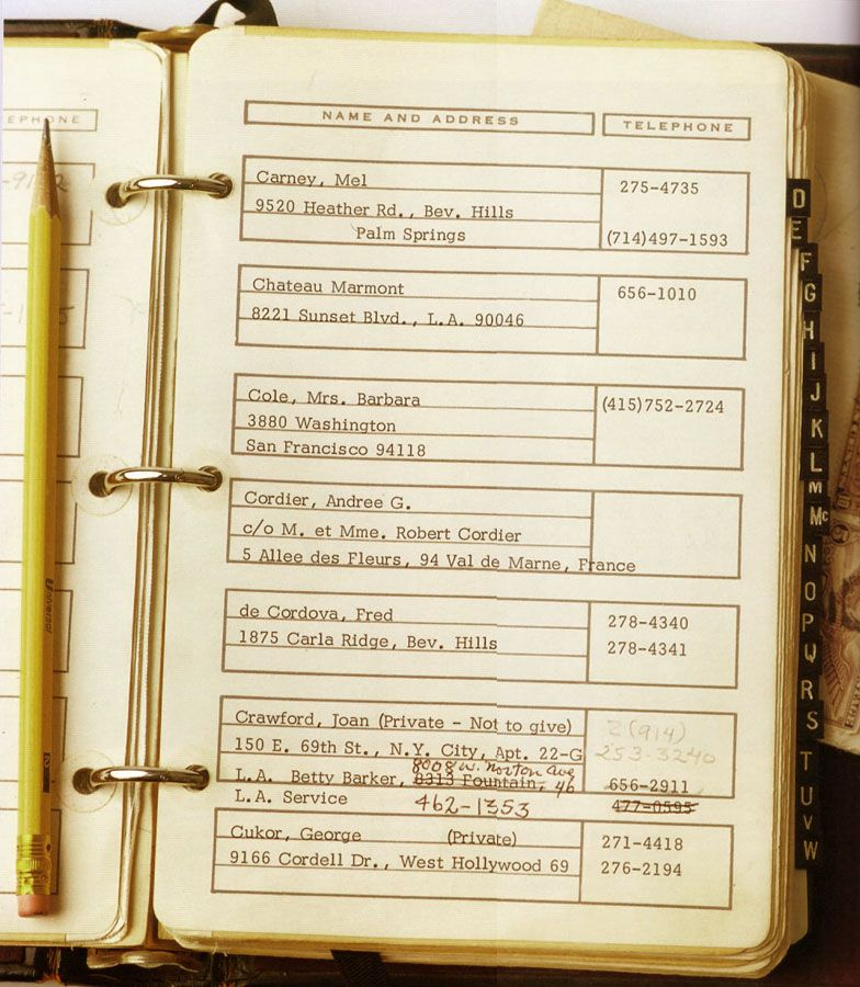 William Haines Address Book Hollywood