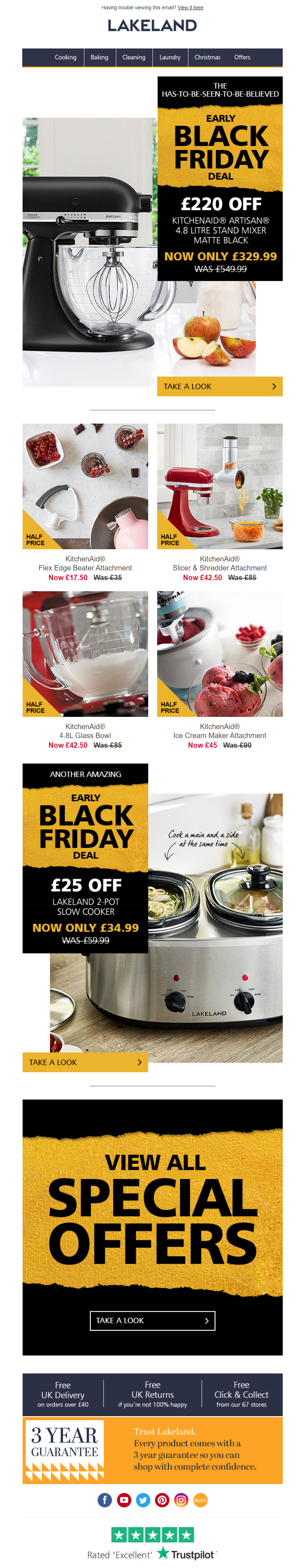 Black Friday Deal Email From Lakeland Emailmarketing Email Marketing Home Retail Blackfriday Deals Black Friday Deals Black Friday Black Friday Email