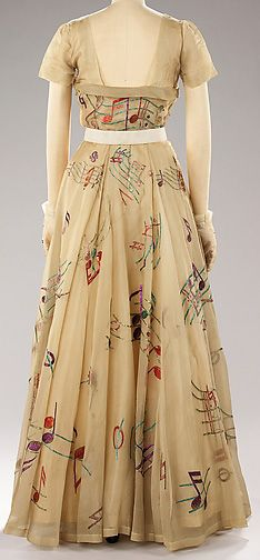 Schiaparelli Robe Et Gants Assortis Collection Musique Broderies Lesage 1939 Evening Dresses Dresses Fashion
