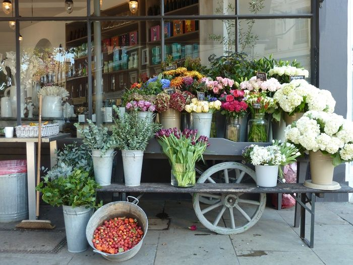 Flower cart and bench