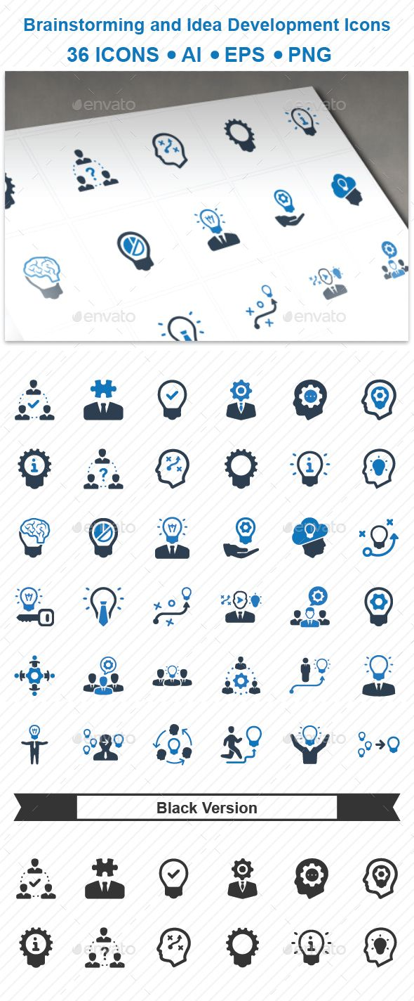 Brainstorming and Idea Development Icons