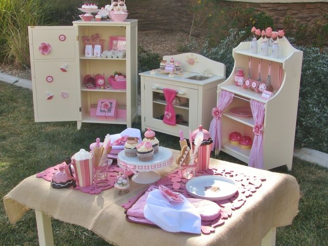 Adorable kid's kitchen dessert table spread