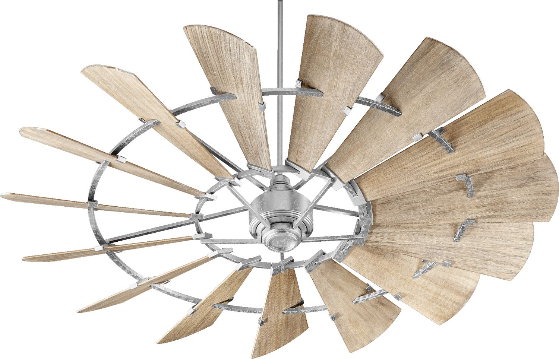 Quorum Windmill Fan In Galvanized Finish With Weathered Oak Paddles Windmill Ceiling Fan Transitional Ceiling Fans 72 Ceiling Fan