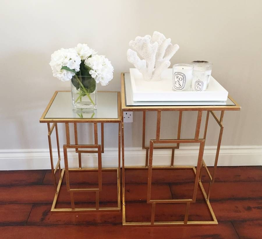 Gold Art Deco Side Tables
