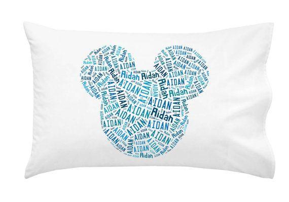 Handmade Boy's Personalized Pillowcase Mickey Mouse Ears Disney World Pillow Room Decor Christmas Gift
