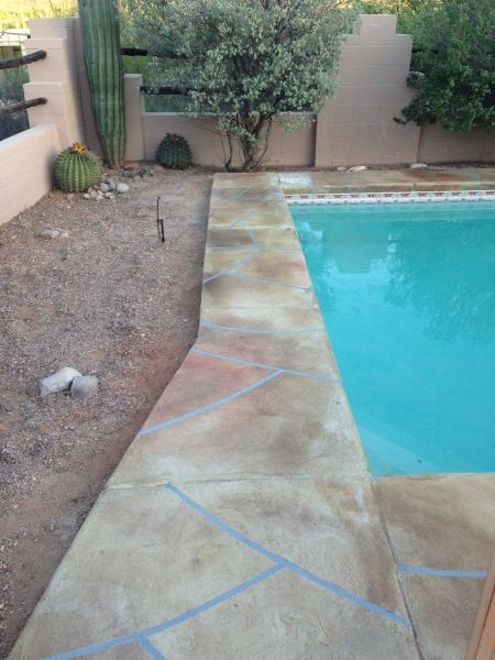 stained decorative concrete overlay flagstone look tucson az