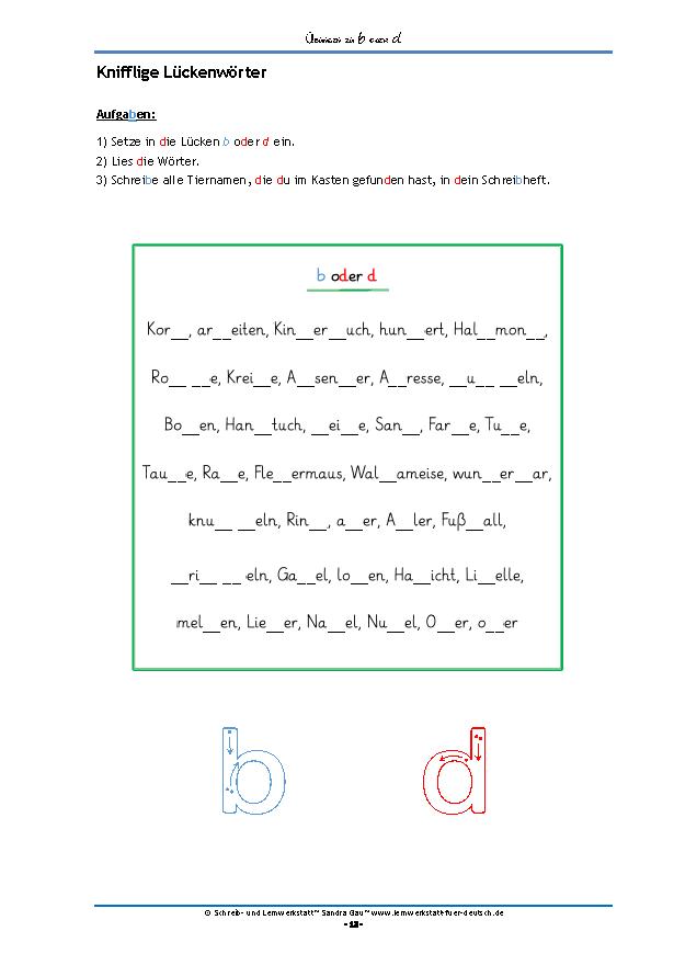 Übungen zu b oder d | Montessori and School