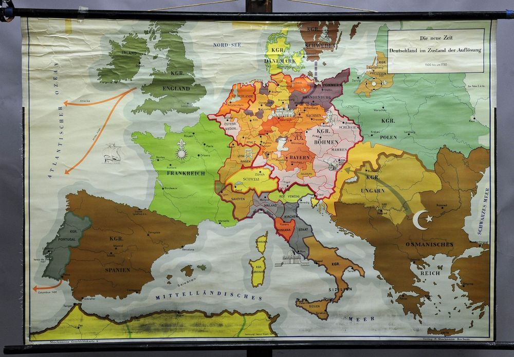 rollable geographical wall chart poster map new time germany dissolution