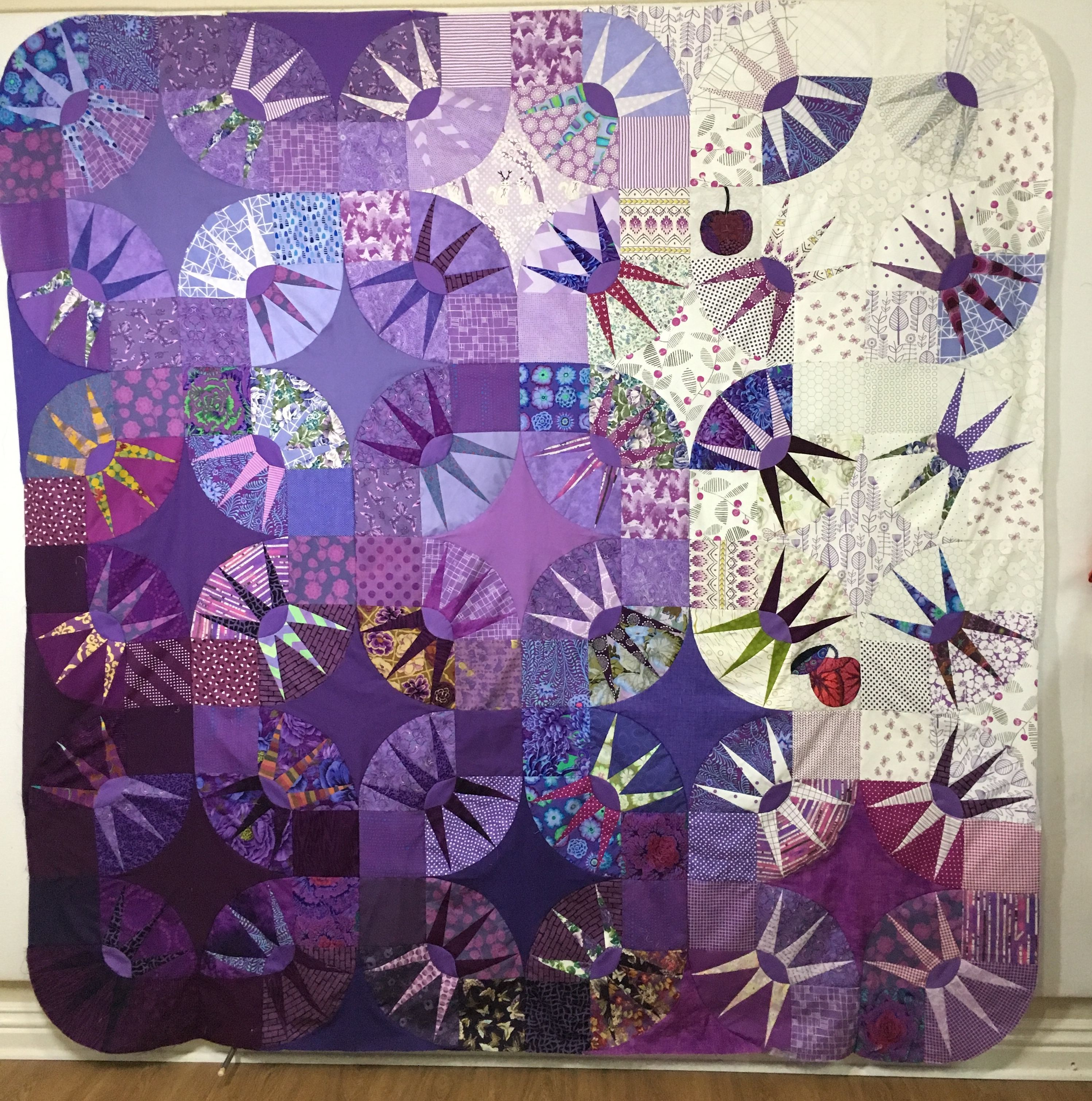 Born To The Purple Color Wave Version Of Vfw Bright Lights Big City Bright Quilts Art Quilts Geometric Quilt