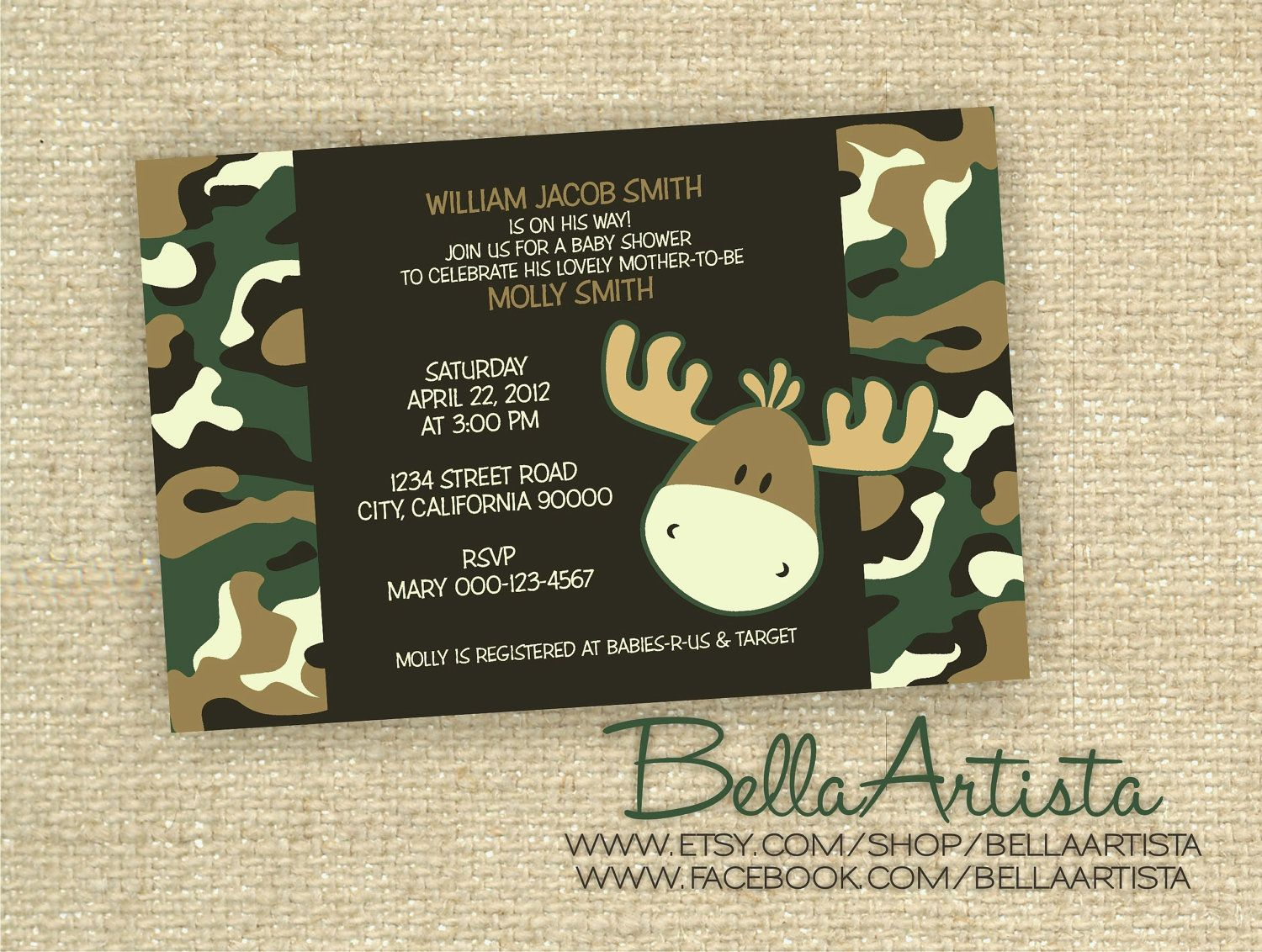 free printable camo baby shower invitations templates%0A Camouflage Moose Invitations  Camoflauge Baby Shower Invitation  Boys Camo  Hunting Invite