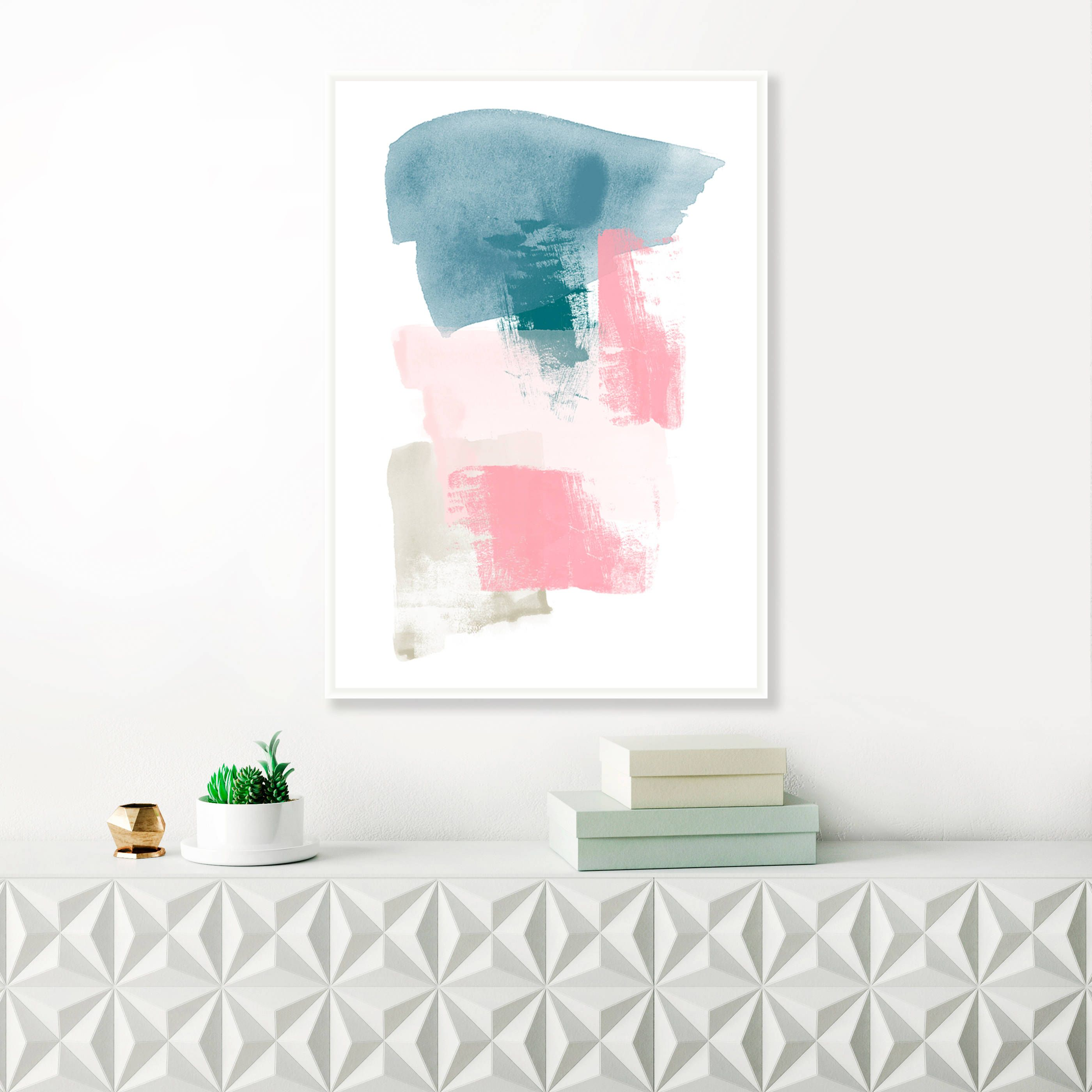 Affordable Wall Art Entrancing Modern Painting Pink And Teal Abstract Art Minimalist Painting Design Decoration