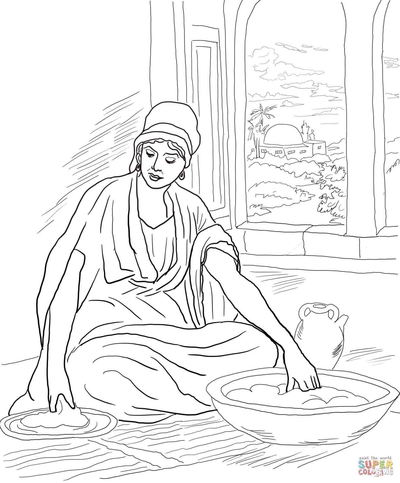 Parable of the Leaven (yeast) coloring page