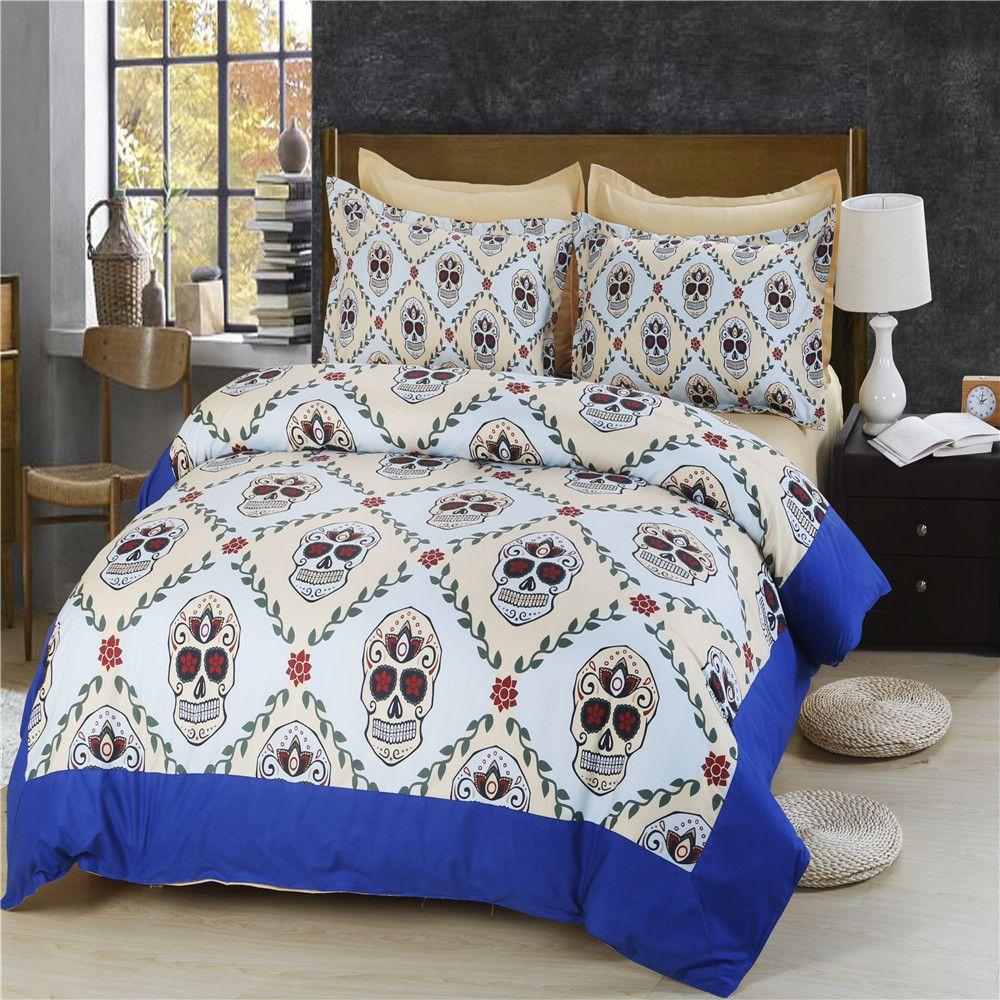 Fashion Skull Halloween king Bedding Set Queen Bed Duvet