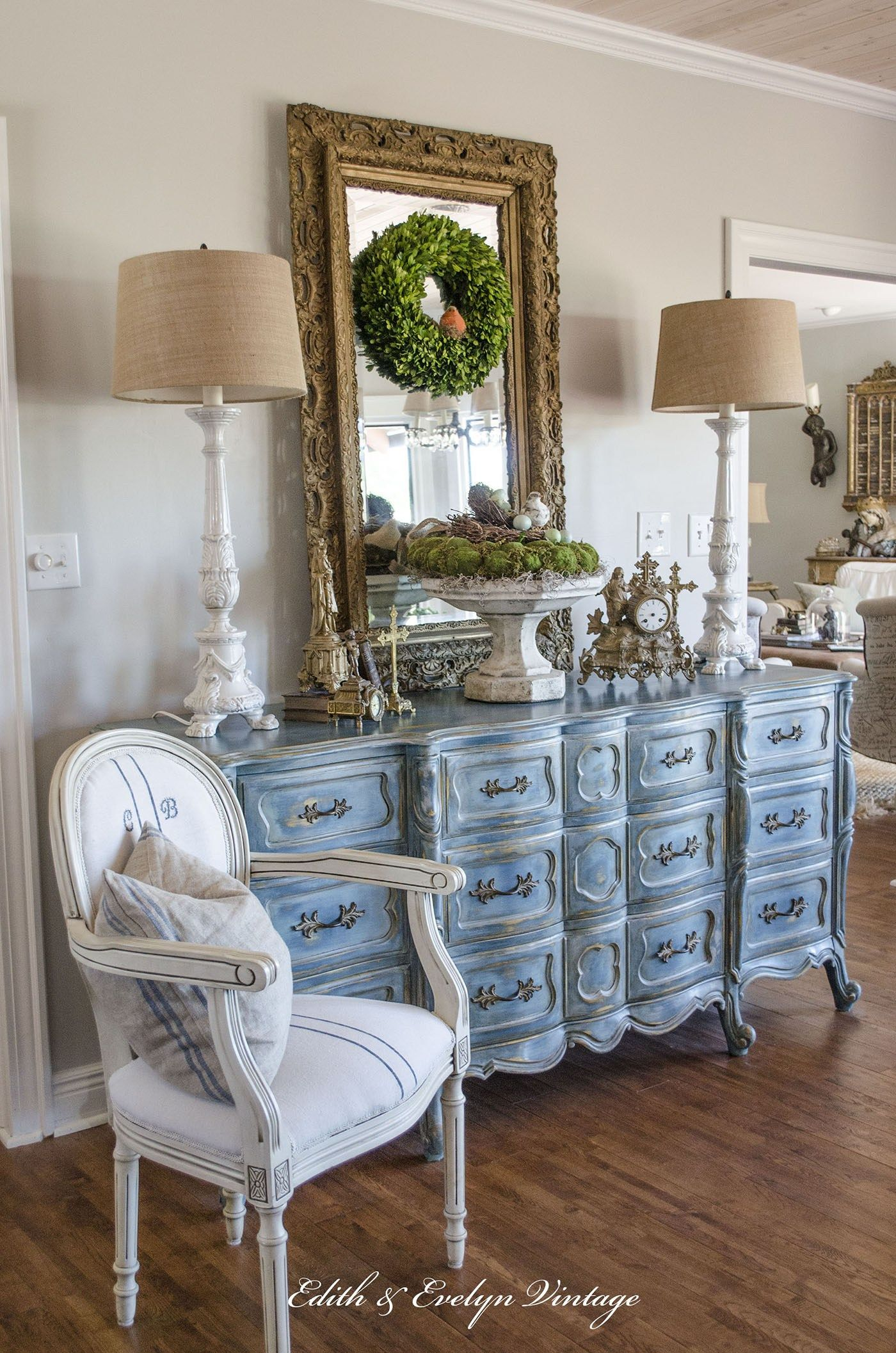 Photo of A Blue French Provincial Dresser | Edith & Evelyn