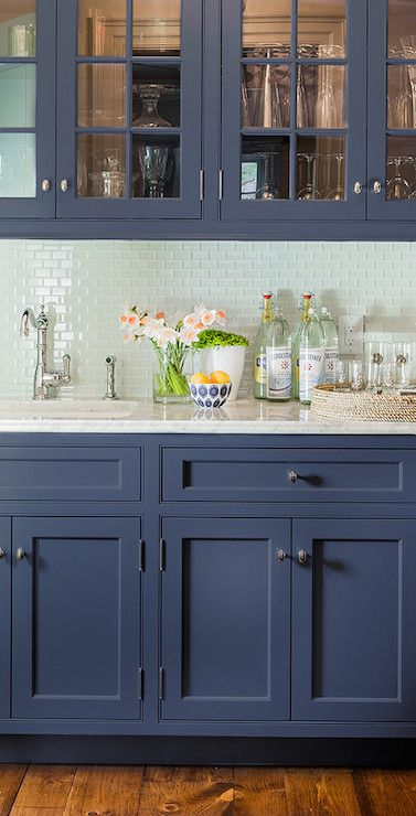 Navy Cabinets | Home Design | Pinterest | Subway Tile Backsplash, Glass  Front Cabinets And Subway Tiles