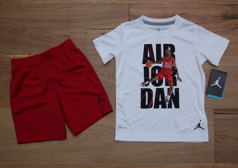 c9d4ad615b07d5 Air Jordan Boy 2 Piece Tee   Shorts Set ~ White