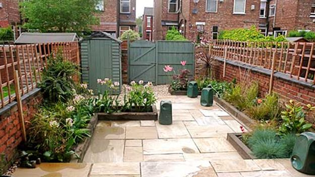 Grassless backyard google search gardening pinterest for Garden design ideas without grass