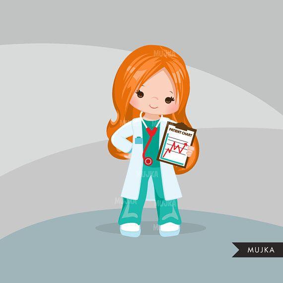 doctor clipart. little girl graphics