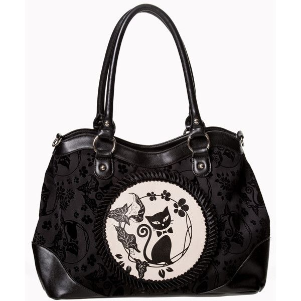 Call Of The Phoenix Cat Cameo Bag By Banned Black 41 Liked On Polyvore Featuring Bags Handbags Handbag Purse Flower And