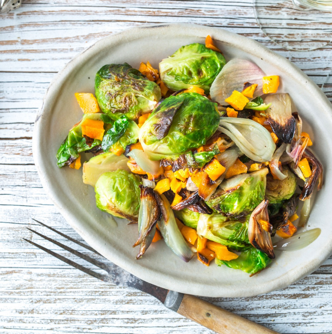 Roasted Brussel Sprouts butternut squash, shallots