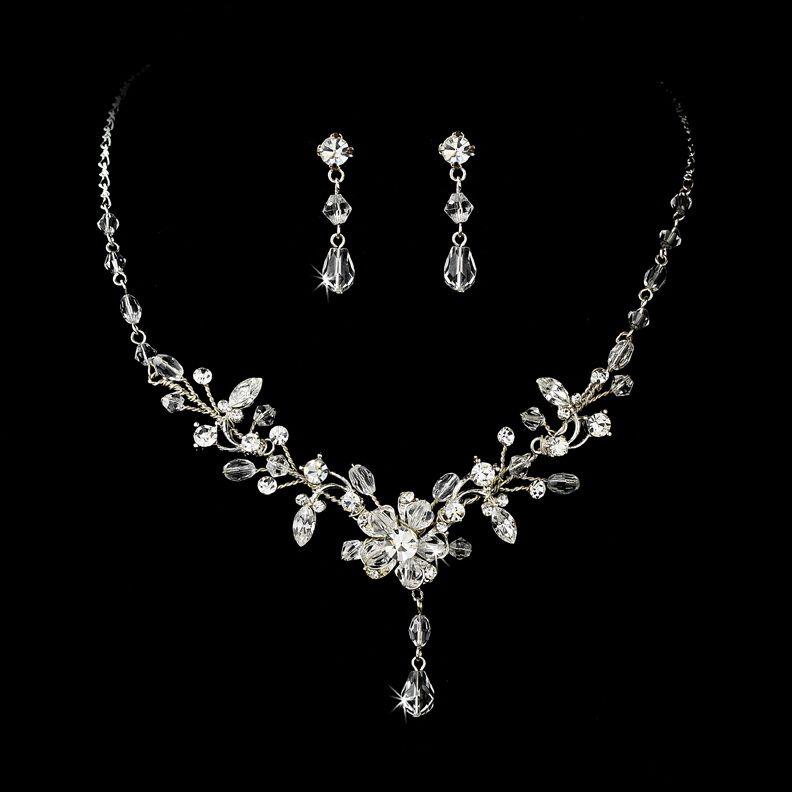 SilverClear Swarovski Crystal Couture Jewelry Set NE 8003 Bridal