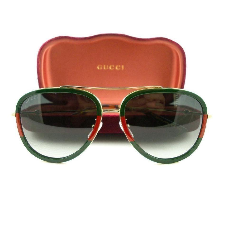 Gucci | Green / Red Gold Gg0062S 003 Sunglasses