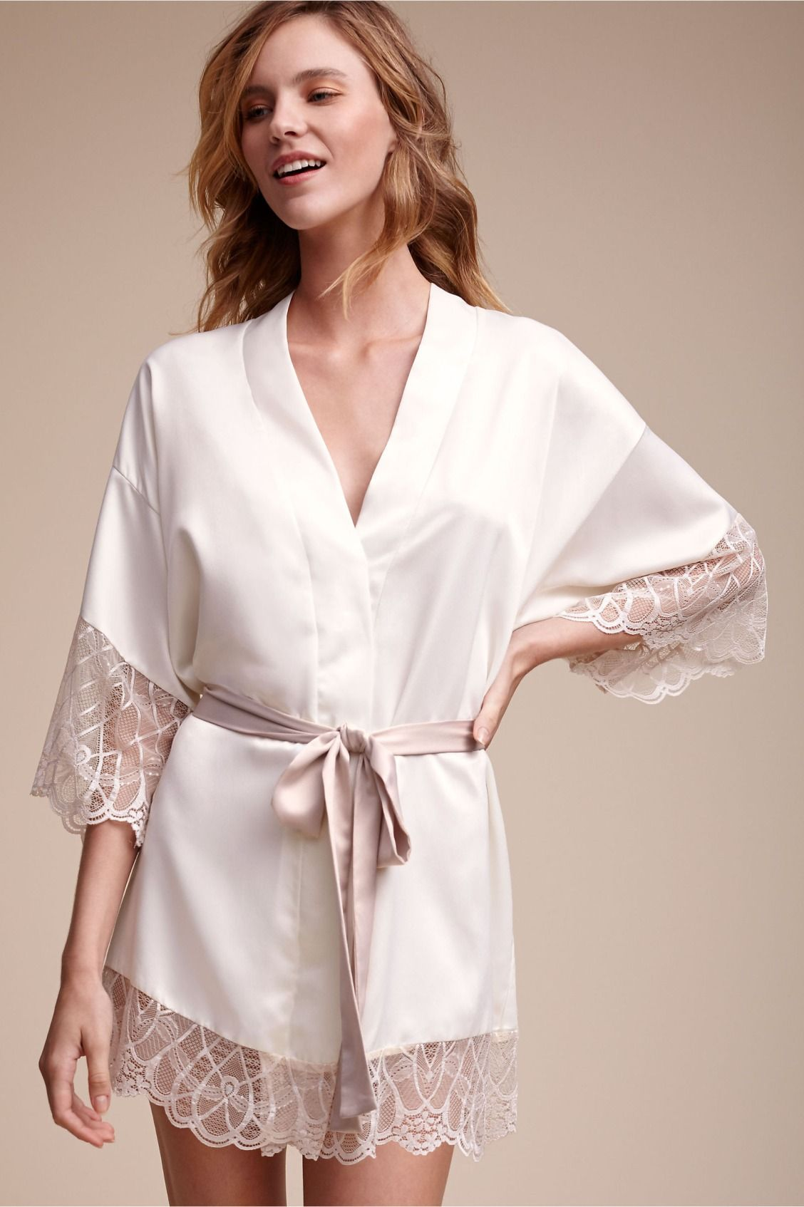 scalloped blush lace from italy | Cosette Kimono Robe from BHLDN ...