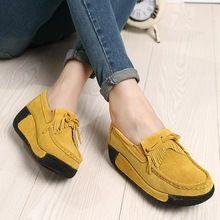 2016 Wiosna Kobiety Prawdziwej Skory Zamszowe Buty Damskie Platforma Wedge Botki Creeper Kobiet Przypadkow Slip On Boots Womens Shoes Wedges Casual Shoes Women