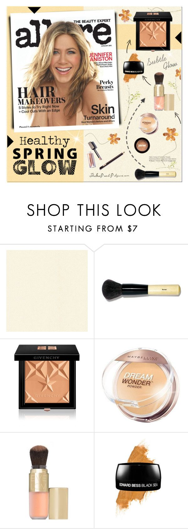 """Spring Beauty: Subtle Glow"" by theseapearl ❤ liked on Polyvore featuring beauty, Brewster Home Fashions, Bobbi Brown Cosmetics, Givenchy, Maybelline, Eve Lom, Edward Bess, jane, GetTheLook and jenniferaniston"