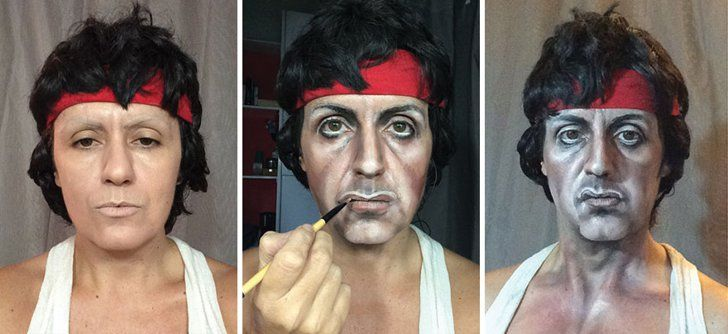 Pin for Later: 1 Woman Transforms Into Johnny Depp, Queen Elizabeth, and More With Makeup Sylvester Stallone in Rocky Before