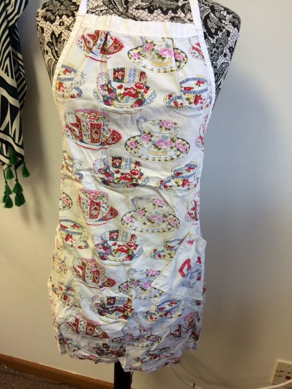 Charming And Nostalgic Apron. Tea Cup Pattern